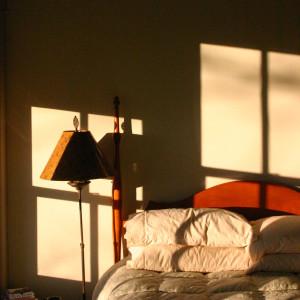 bed at dusk
