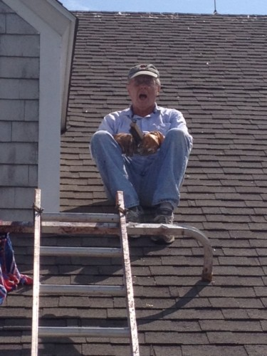 Dad on roof